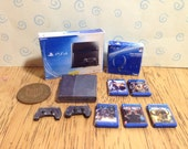 Dolls house handmade miniature Ps4 bundle  console  box 2 controllers headset and 5 games 112 scale