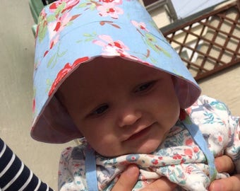 Handmade Gorgeous Cath Kidston Floral Sun Hat Baby Bonnet