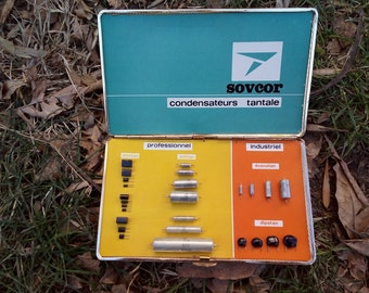 """Vintage """"Sovcor"""" capacitors in box, professional and industrial samples of  capacitors """"Sovcor"""""""