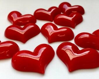 ON SALE 10 Heart Table Confetti Kawaii Decoden Bling Heart Cabochon DIY Valentine Flat Back Heart Awareness Month American Heart Association
