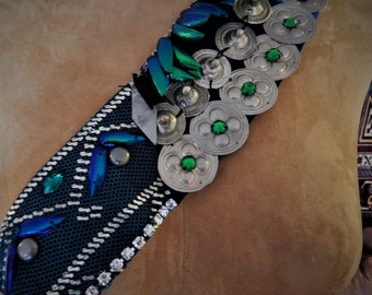 Assuit, Belt, READY-TO- WEAR Belt, Assiut, Vintage, Teal, Belly Dance, Pro-Quality, Tribal Fusion, Egyptian Revival