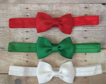 Christmas Baby Headband set, Red Green White Headbands, Baby headbands, Holiday Headband set, Baby Shower gift, Baby Bows