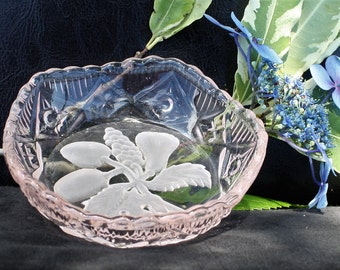 Pink Cut Glass Butter Dish or Trinket / Ring Bowl with Frosted Fruit Design - Lovely :)