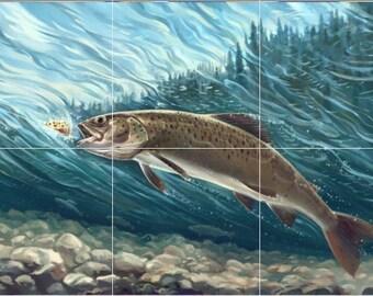 12 x 18 Ceramic Tile Mural Backsplash Catching A Fish #484