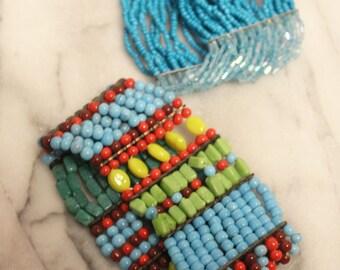 VTG 90s Colorful Bead Bohemian Gypsy Bracelets (2)