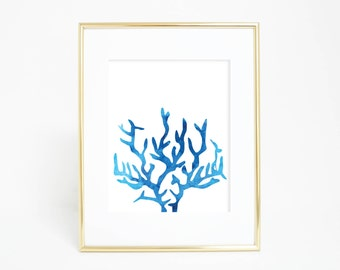 Blue Watercolor, Coral Art Print, Blue Coral, Blue Print, Ocean Prints Ocean Artwork Ocean Wall Art Coral Art Sea Wall Prints, Nursery Decor
