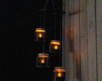 Rustic jar chandelier lantern