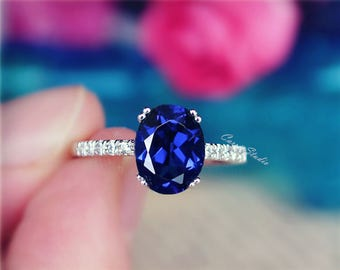 Oval Sapphire Ring Sapphire Engagement Ring/ Wedding Ring 925 Sterling Silver Ring Anniversary Ring Birthday Present