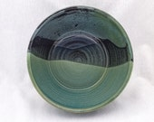 Stoneware pottery bowl- bronze green and black glaze in a mountain landscape pattern (4+ cups), serving bowl, fruit bowl