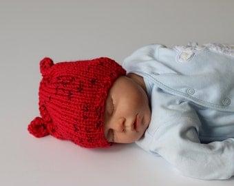 0 - 3 Months Hat, Newborn Hat, Knit Baby Hat, Baby Girl Hat, Baby Boy Hat, Baby Shower Gift, Bright Red