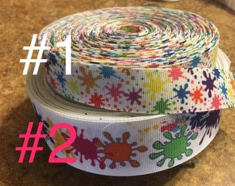 Paint Splash grosgrain Ribbon, ribbon by the yard