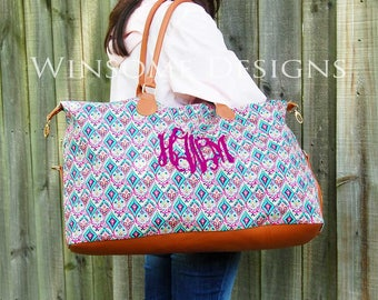 Monogram Luggage-Personalized Overnight Bag-Weekender With Monogram-Large Travel Tote with Monogram-Lily Pulitzer-Weekender Bag-Duffel Bag