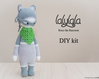 Green Lalylala Roco the Raccoon - DIY Crochet Kit - Lalylala pattern - DIY Craft - Easter gift - Crochet material set -  Gift for boy