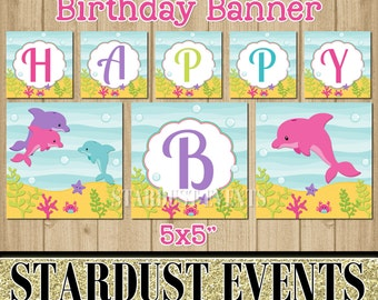 Dolphin Happy Birthday Banner, Dolphin Birthday Banner, Happy Birthday Banner, Under The Sea Banner