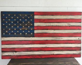 American Flag, Rustic Wood Flag, Weathered US Flag, Patriotic Home Decor