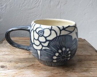 Floral handcrafted ceramic mug