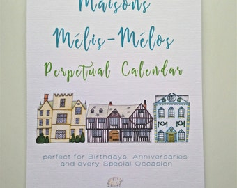 A5 Perpetual Birthday Calendar, Maisons Mélis-Mélos Illustrations