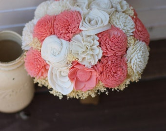 Coral Ivory Bouquet, Rustic Wedding, Country Wedding, Wedding Flowers, Bridal Bouquet, Wedding Bouquet