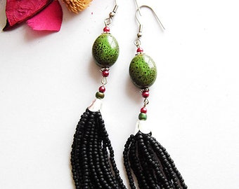 Beadwoven tassel earrings, long beaded earrings, Beadwork, handmade tassel earrings, gift for her, seed bead earrings, beaded jewellery