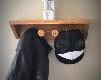 Wall Hooks with Shelf - Book Shelf - Clothing or Hat Hooks - Nursery Shelves - Baby Room Display Shelves