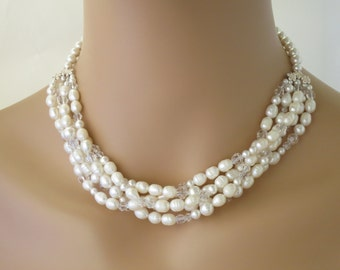 Swarovski crystal and freshwater pearl necklace, Multi-strand pearl bridal necklace, Braided wedding necklace