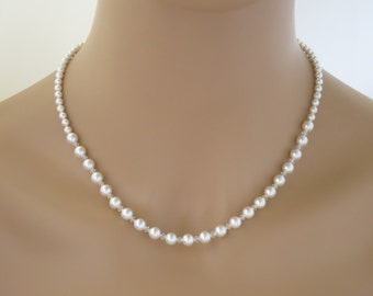 Swarovski pearl and crystal necklace, Simple pearl wedding necklace, Classic bridal necklace, Bridesmaid necklace