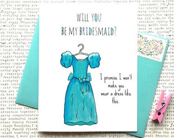 Will You Be My Bridesmaid Card, Funny Bridesmaid Card, Be My Bridesmaid Funny, Bridesmaid Dress Card, Ugly Bridesmaid Dress Card, Wedding