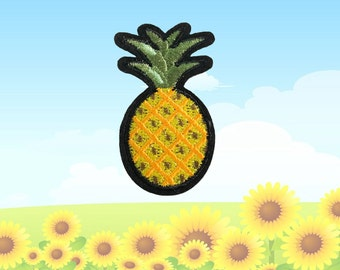 Pineapple Iron on Patch(M) -Pineapple Applique Embroidered Iron on Patch Size 2.9x5.3 cm)