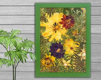 "Picture  ""Floral Fantasy"" from pressed flowers-home decor-dried flowers-pressed flower-pressed flower frame-floral art-botanical art-nature"