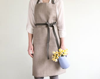 Gardening Apron - Impregnated Linen Apron with two pockets water-resistant