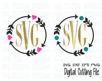 SVG Arrow Monogram Frame Files Svg Dxf Eps Png Monogram Cut File Design for Silhouette Cricut & more SVG Digital Design Cutting files