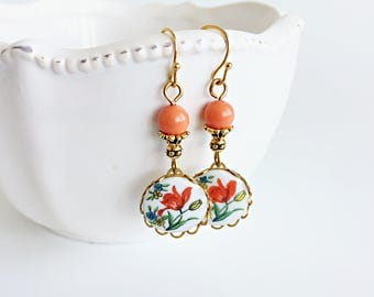 Red Flower Short Dangle Earrings, Vintage Style Red Tulip Floral Cameo and Coral Orange Crystal Pearl Earrings