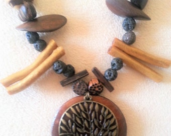 Essential oil diffuser necklace, wood mix with tree charm