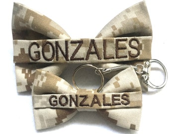 Military camo nametape bow and nametape bow keychain set (army acu, multicam/ocp, airforce abu, navy nwu, navy nwu III, marine woodland/dese
