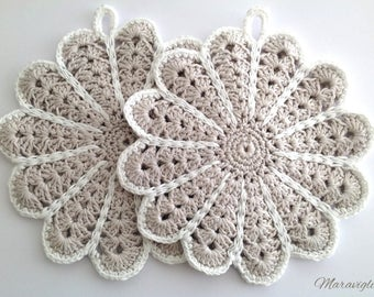 Crochet Potholders, Crocheted Potholders, Grey Potholders, Flower Potholders, Handmade Pot Holders