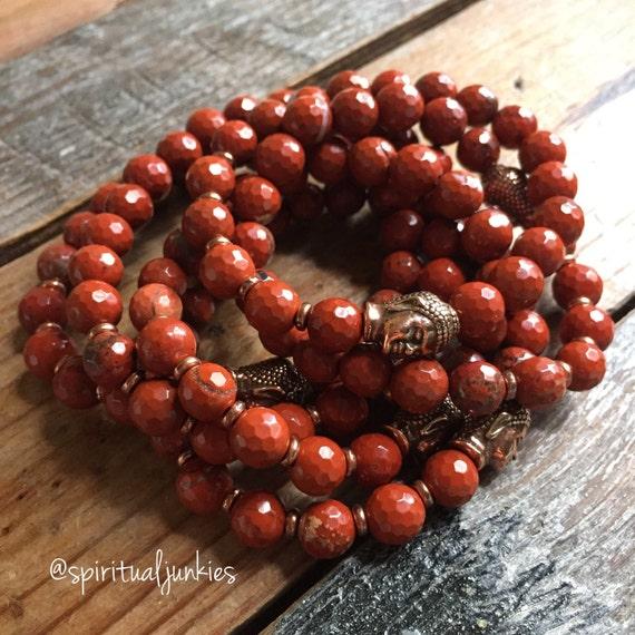 Stackable Faceted Red River Jasper Yoga and Meditation Bracelet with Copper Buddha (single bracelet)