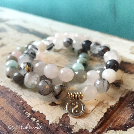 Reiki Infused Love, Tranquility + Balance Stack of 3 Mixed Gemstones + Hill Tribe Sterling Yin Yang Spiritual Junkies Yoga Bracelets