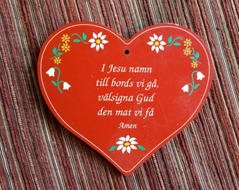 Swedish Wood Plaque,Swedish Heart,Sweden Decor,Swedish Kitchen,Swedish Art,Swedish Hanging,Swedish Prayer,Swedish Gift,Scandinavian Gift