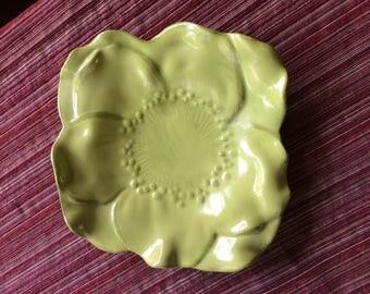 Green Flower Plate,Lime Green Plate,Light Green Plate,Small Flower Plate,Flower Plate,Flower Shaped Plate,Green Salad Plate,Small Green Dish