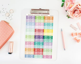 78 This & That Headers | Planner Stickers | Header Stickers | Planner Stickers designed for use with the Erin Condren Life Planner | 0783