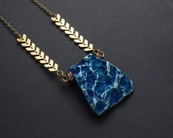 Metallic Blue Agate Brass Necklace Rough Gemstone Teal Blue Titanium Agate Chevron Necklace Bohemian Layering Pendant Necklace Boho Style