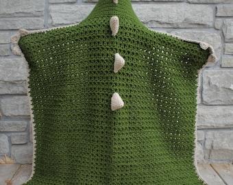 Crochet Dinosaur/Dragon Blanket with Hood