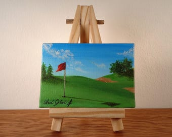 Original Painting, Mini Canvas Art, Mini Landscape Art, Mini Golf Painting, Golf Artwork, Golf Course Painting, Canvas Painting,Mini Artwork