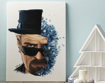 Breaking Bad Art / Walter White / Half Walter White Half Blue Meth Drawing / Original / Canvas Print