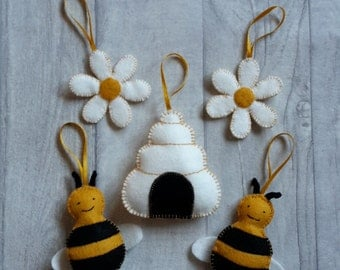Felt Bees Hive Flowers Bumble Bee