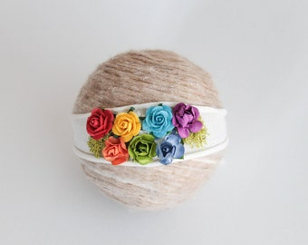 Rainbow Headband, Rainbow Tie Back, Rainbow Baby Headband, Simple Headband, Newborn Photo Prop, Rainbow baby, Newborn headband