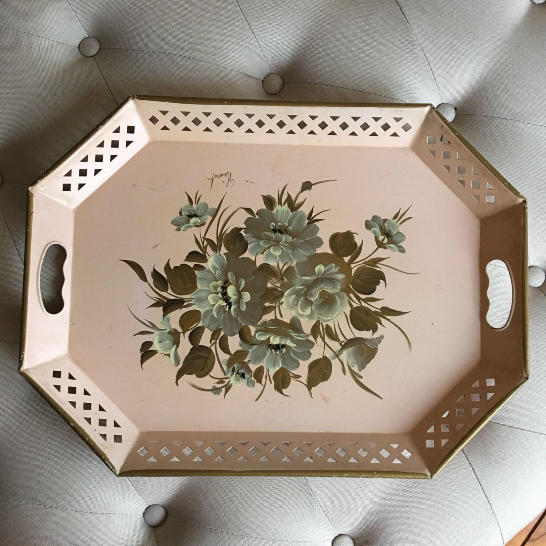 Decorative Metal Tray Large Vintage Handpainted Vanity Tray Pink Metal Tray Floral