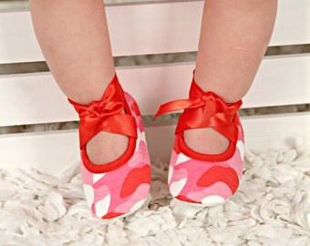 Baby Girls Red Ribbon Shades of Pink and Redo Camo Crib Shoes- Baby Shoes - Soft Sole Baby Girl Shoes