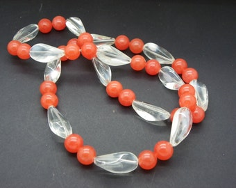 Necklace jade from 10 mmavec of coral crystal glass pearls necklace