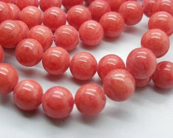 48 to 50 pearls Malaysia 8 mm red orange jade